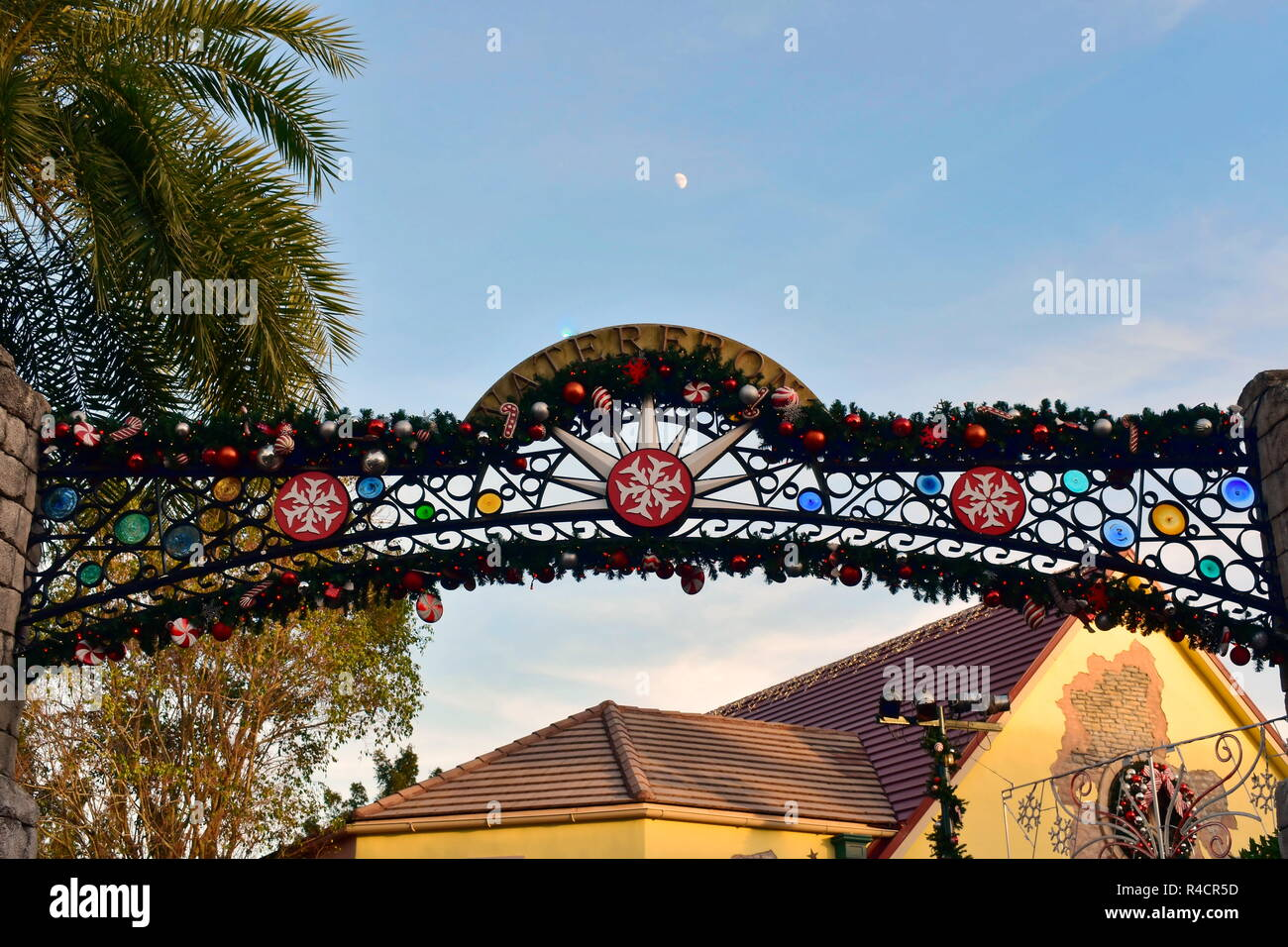 Orlando, Florida. November 19, 2018. Top view of Christmas Market entrance on bluelight cloudy background in International Drive area . Stock Photo