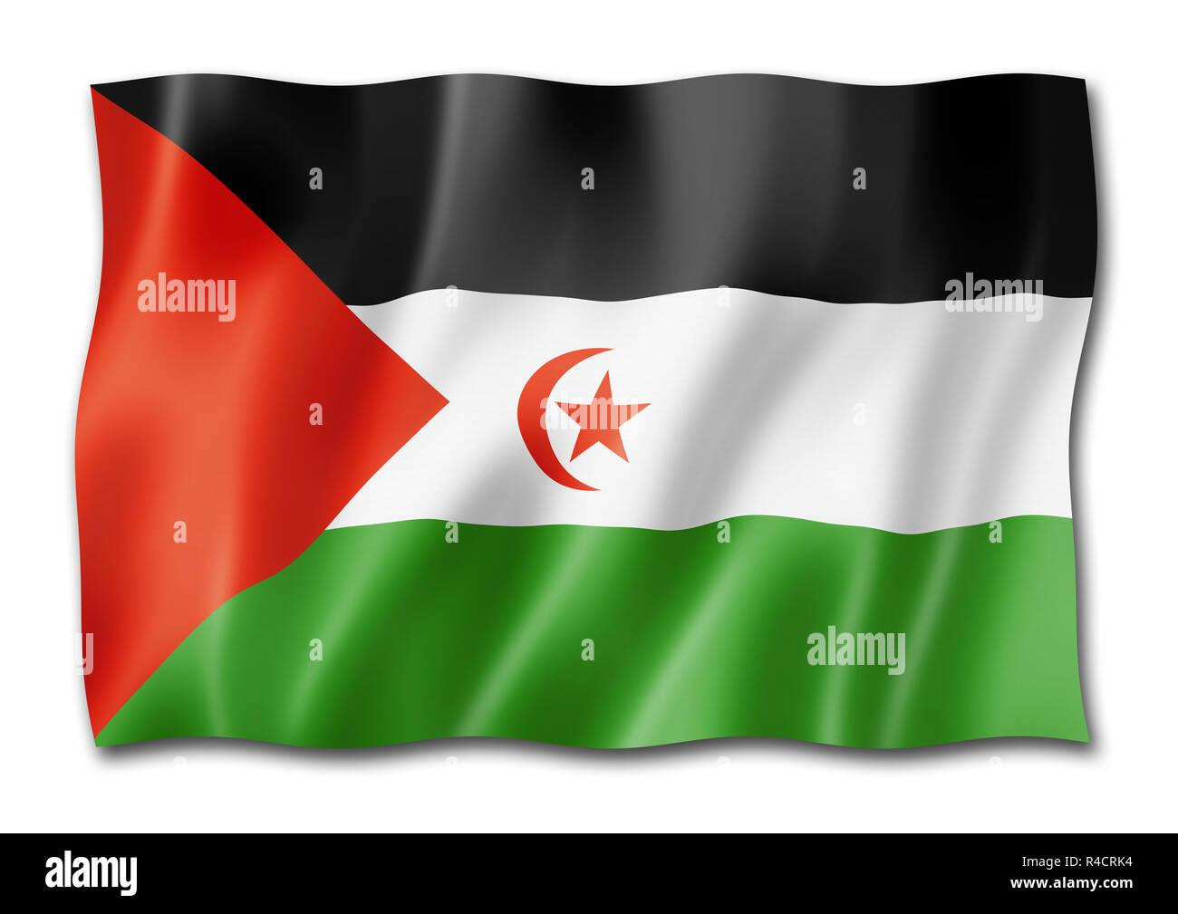 Sahrawi Arab Democratic Republic flag, three dimensional render, isolated on white - Stock Image