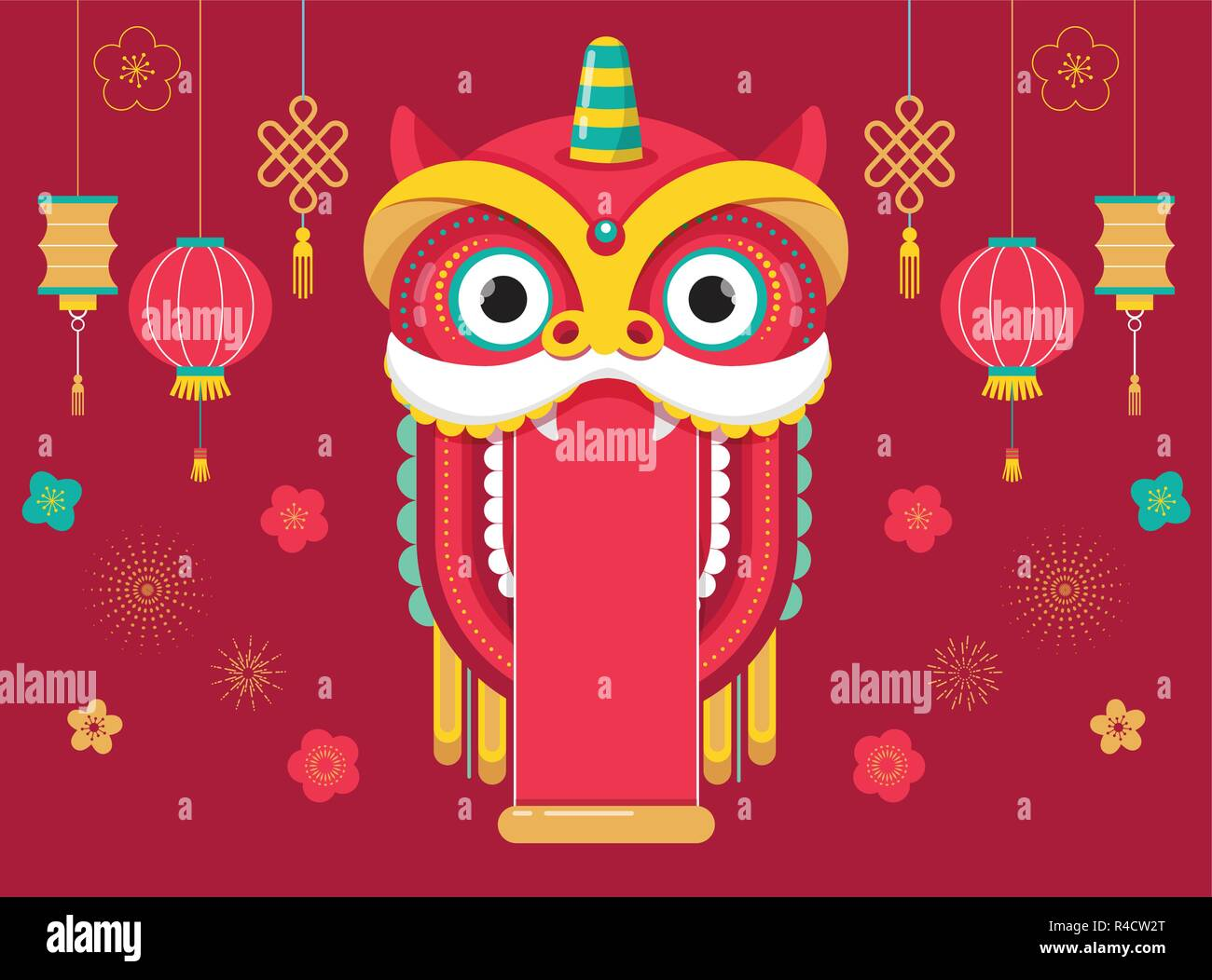 chinese new year background greeting card template with a lion dance red dragon character