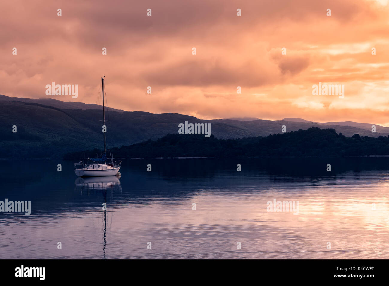West shore of Loch Lomond in the quaint village of Luss near Glasgow, Scotland. - Stock Image