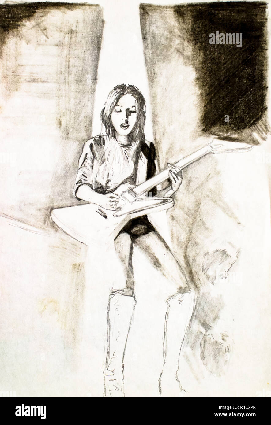 A woman in boots and an electric guitar sings a song pencil drawing