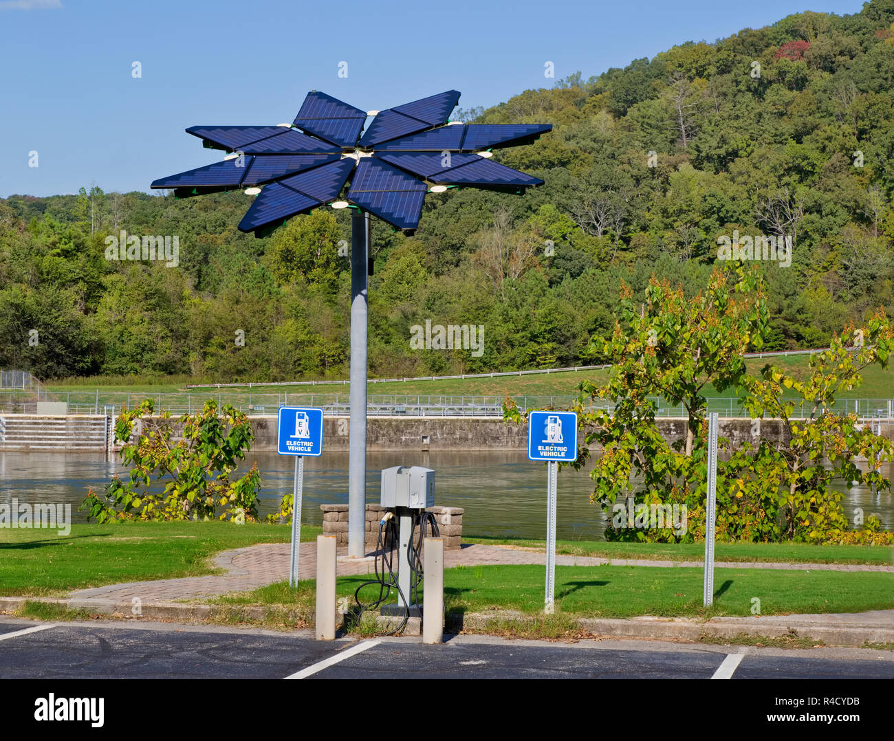 Solar Array, identified as a 'Solar Photovoltaic Flair', Electric Vehicle Charge Station,  Melton Hill Recreation Area. - Stock Image