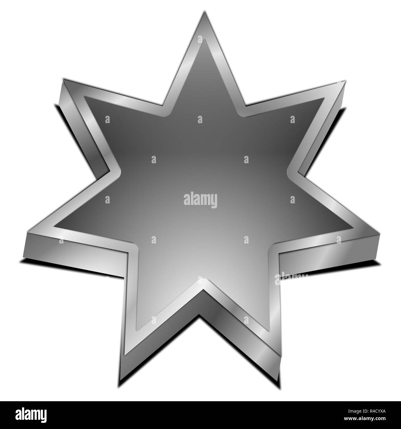 silver Star button – 3d illustration - Stock Image