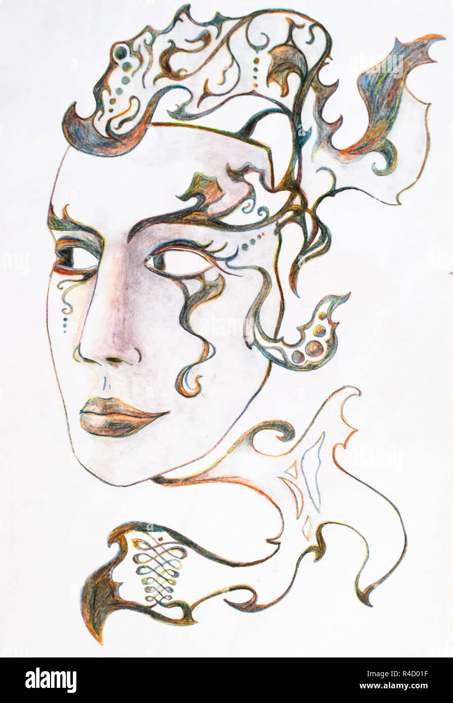Mask in the form of a female face with patterns color pencil
