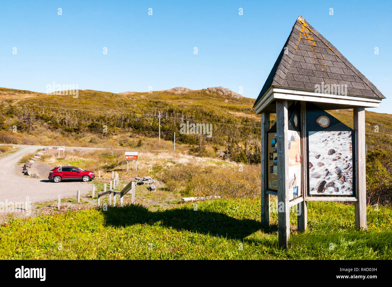 Interpretive boards containing geological information on the Burin Peninsula near Fortune Head, Newfoundland. Stock Photo
