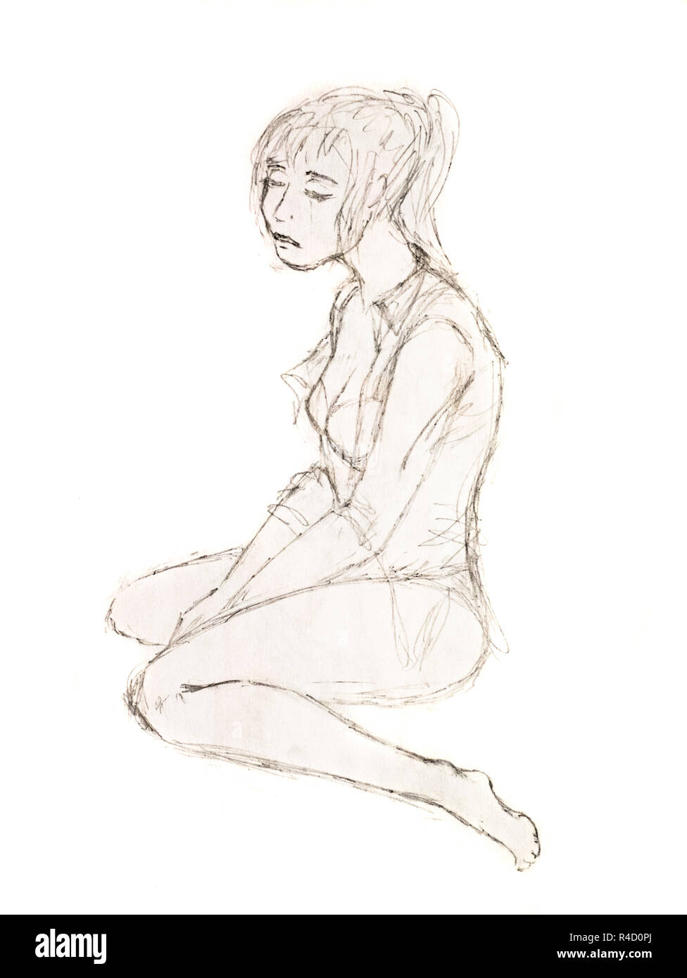 Sad girl sitting on the floor figure simple pencil stock