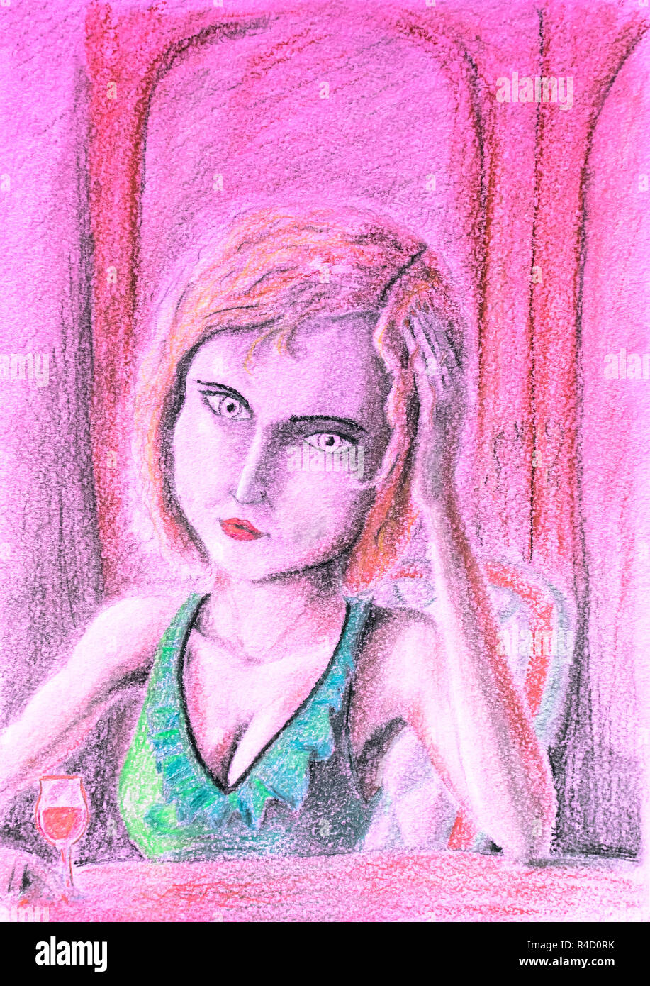 Sad woman at the table holding a glass of wine drinking from depression drawing with pencils