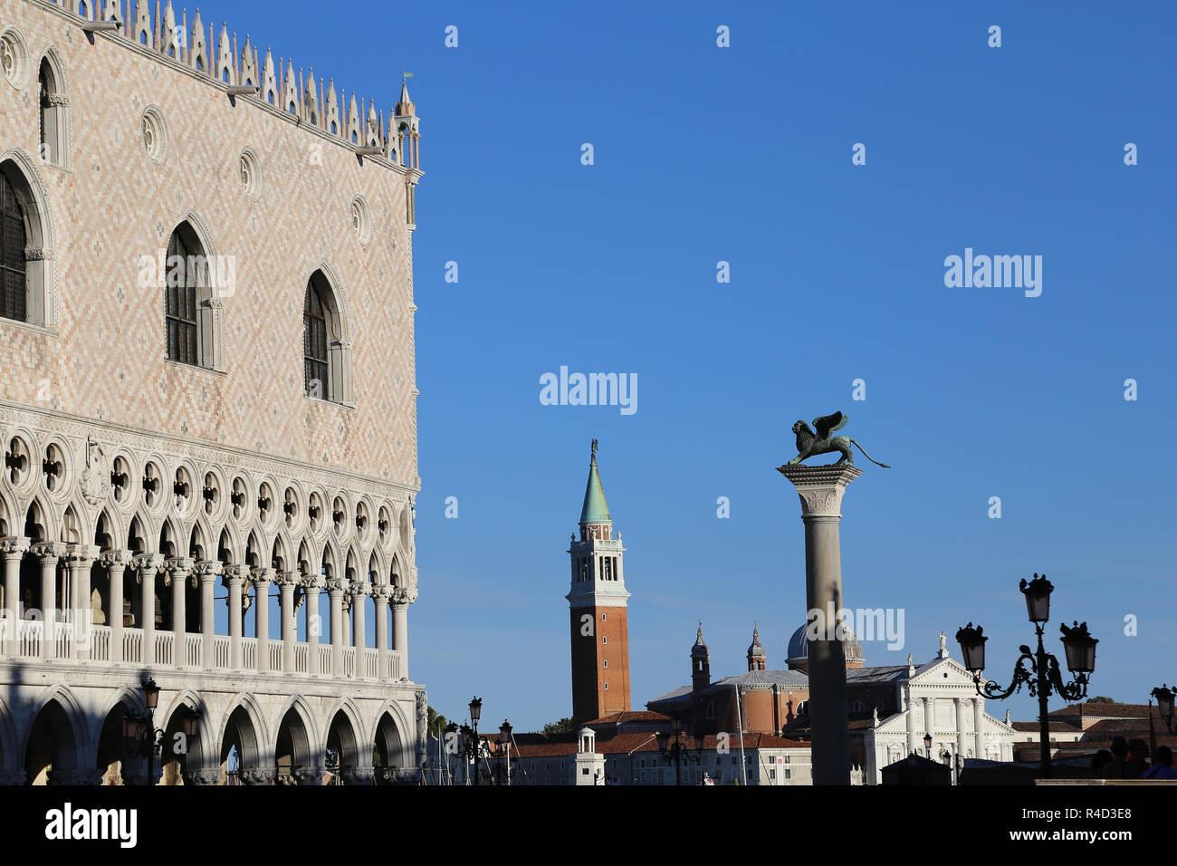 Italy.  Venice. Doge's Palace. 14th-15th century. Venetian Gothic style. Facade. Veneto Region. Stock Photo