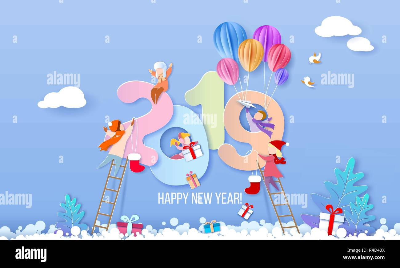 2019 New Year Design Card With Kids On Blue Winter Background