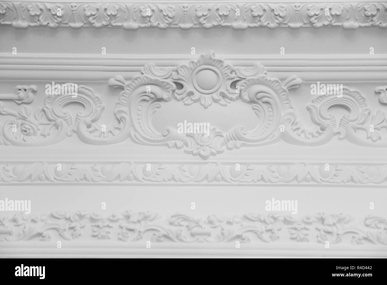 Luxury White Wall Design Bas Relief With Stucco Mouldings Roccoco Element Stock Photo Alamy