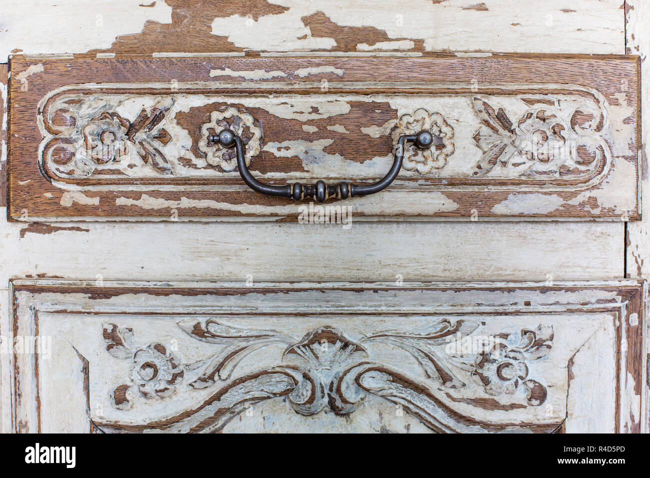 Old Wooden Antique Chest Of Drawers With Metal Handles