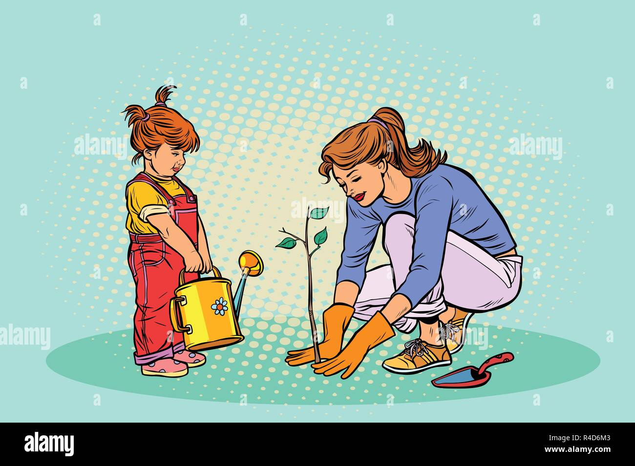 mother and daughter working in the garden, planting a seedling - Stock Vector