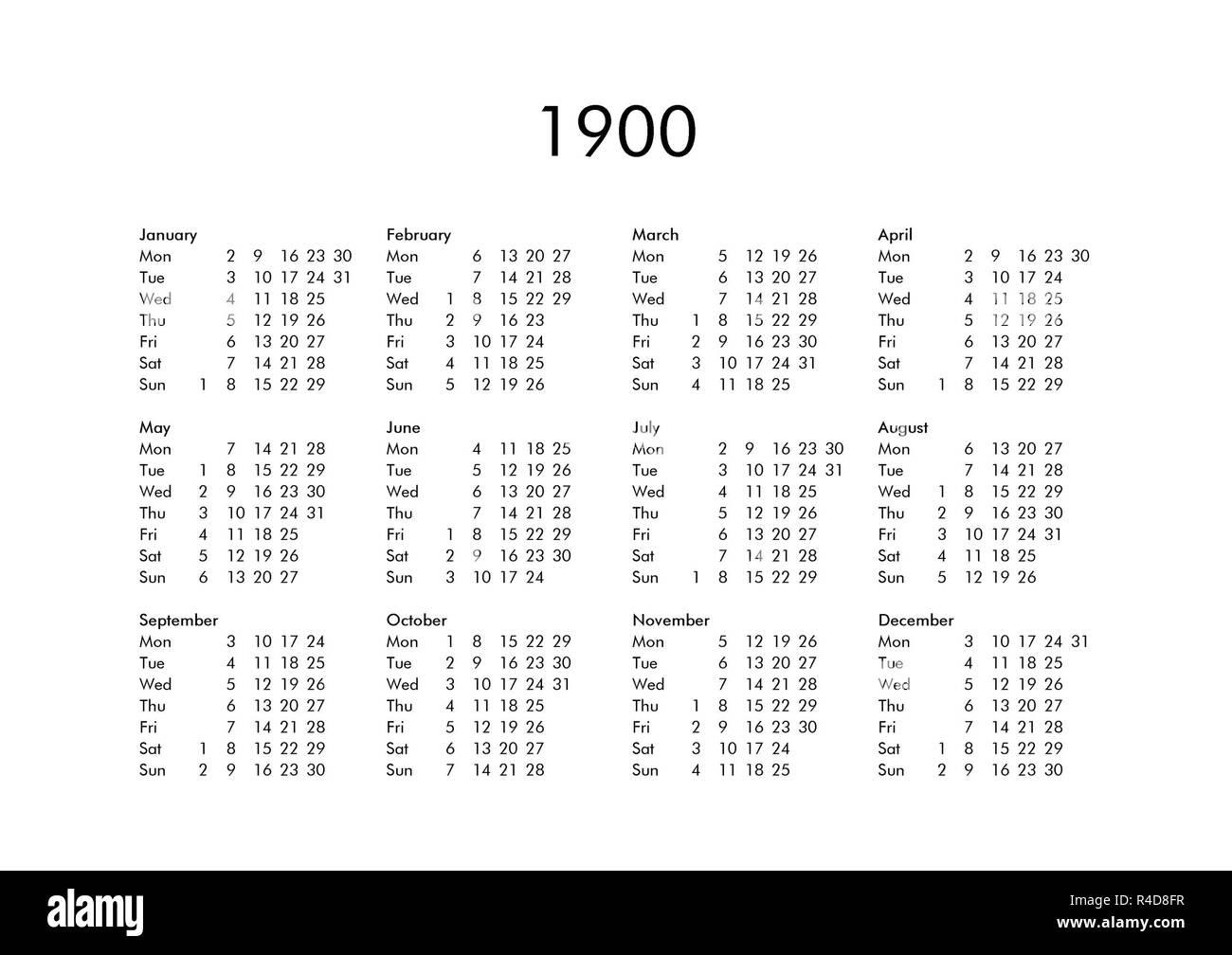 Calendario 1900.Calendar Of Year 1900 Stock Photo 226485499 Alamy