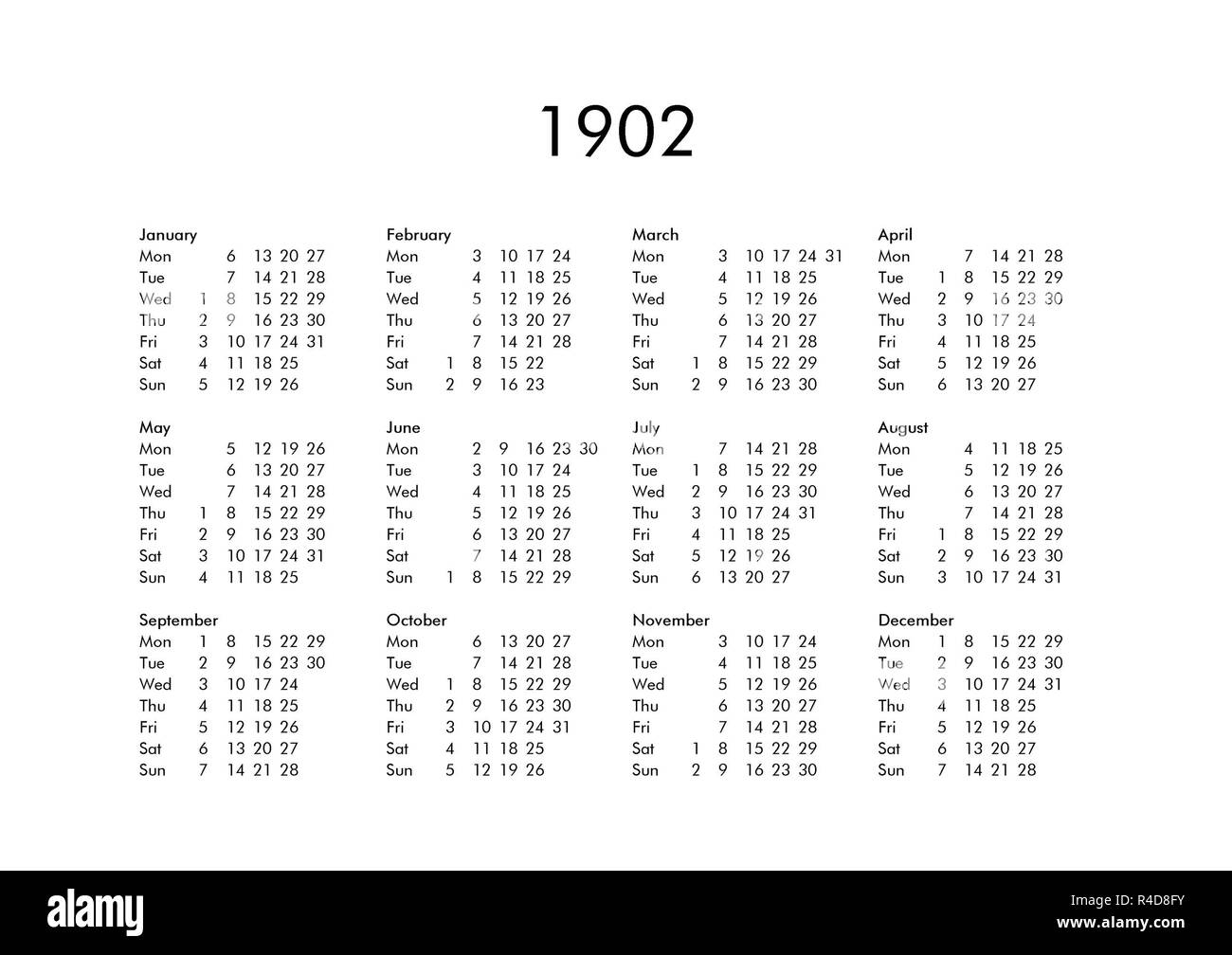 Calendar of year 1902 Stock Photo - Alamy