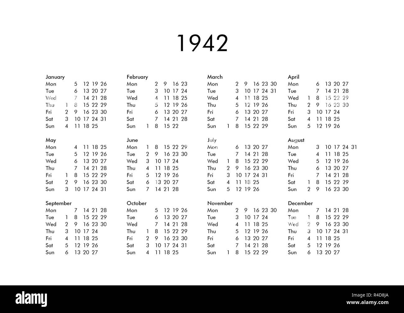 Calendar Of Year 1942 Stock Photo Alamy