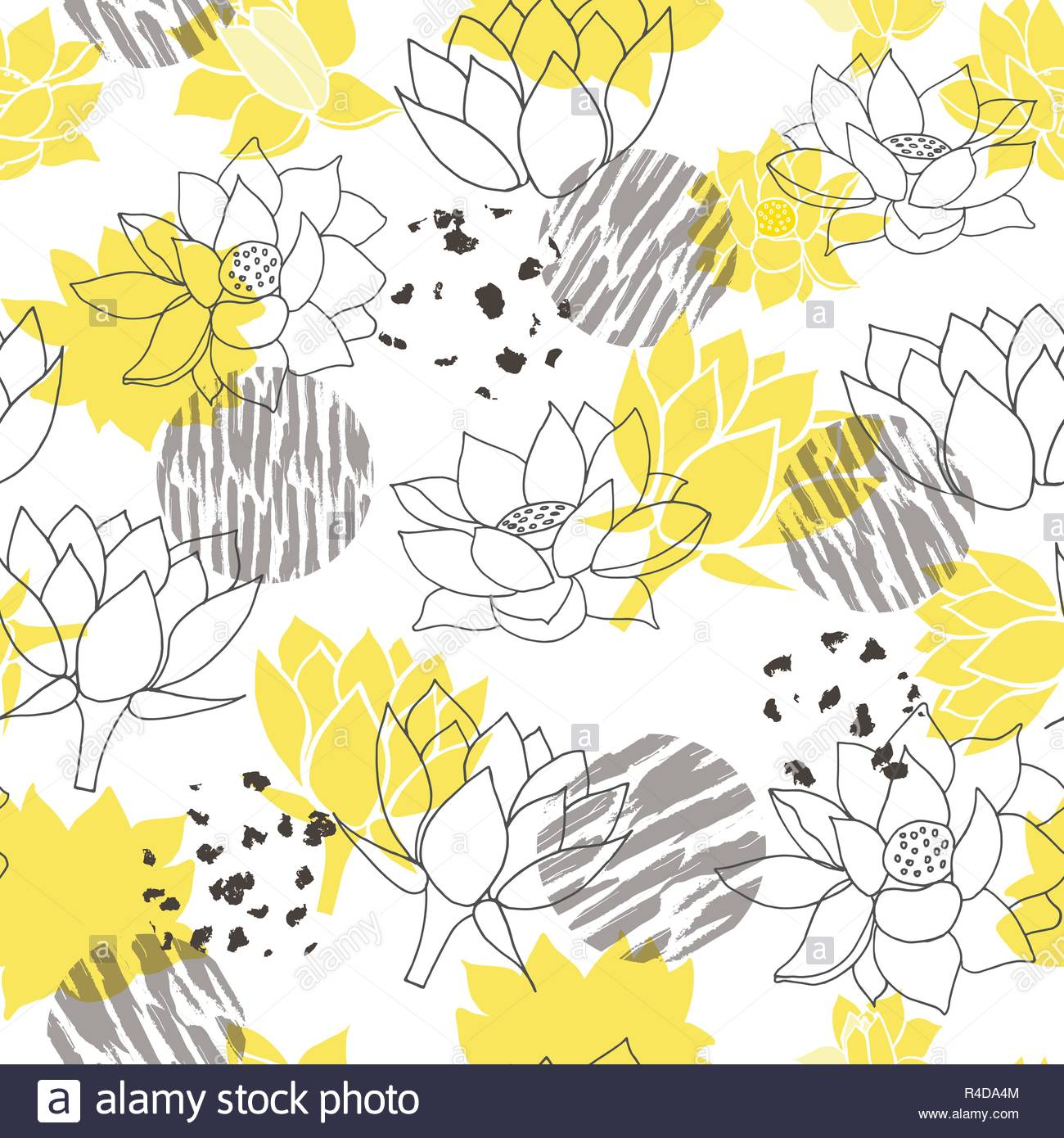 Trendy Abstract Yellow And Grey Waterlilies Or Lotus Flower Seamless