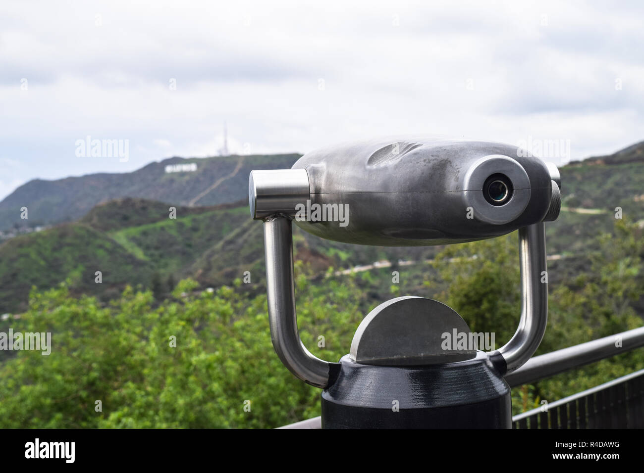 Griffith park los angeles monocular telescope and view on the