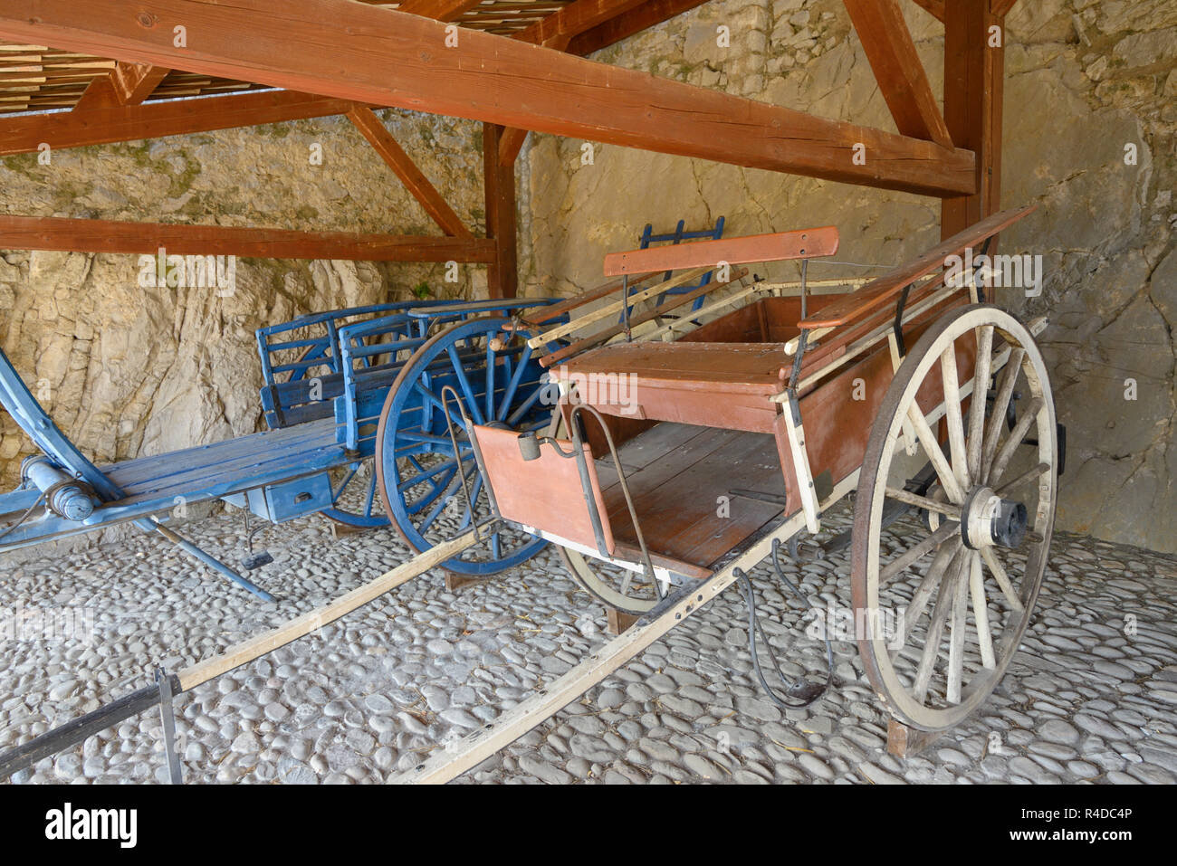 Vintage or Old Horse-Drawn Carts c19th including a Fourragère or Hay Cart & Jardiniere or Garden Cart on Display in the Citadel Sisteron - Stock Image