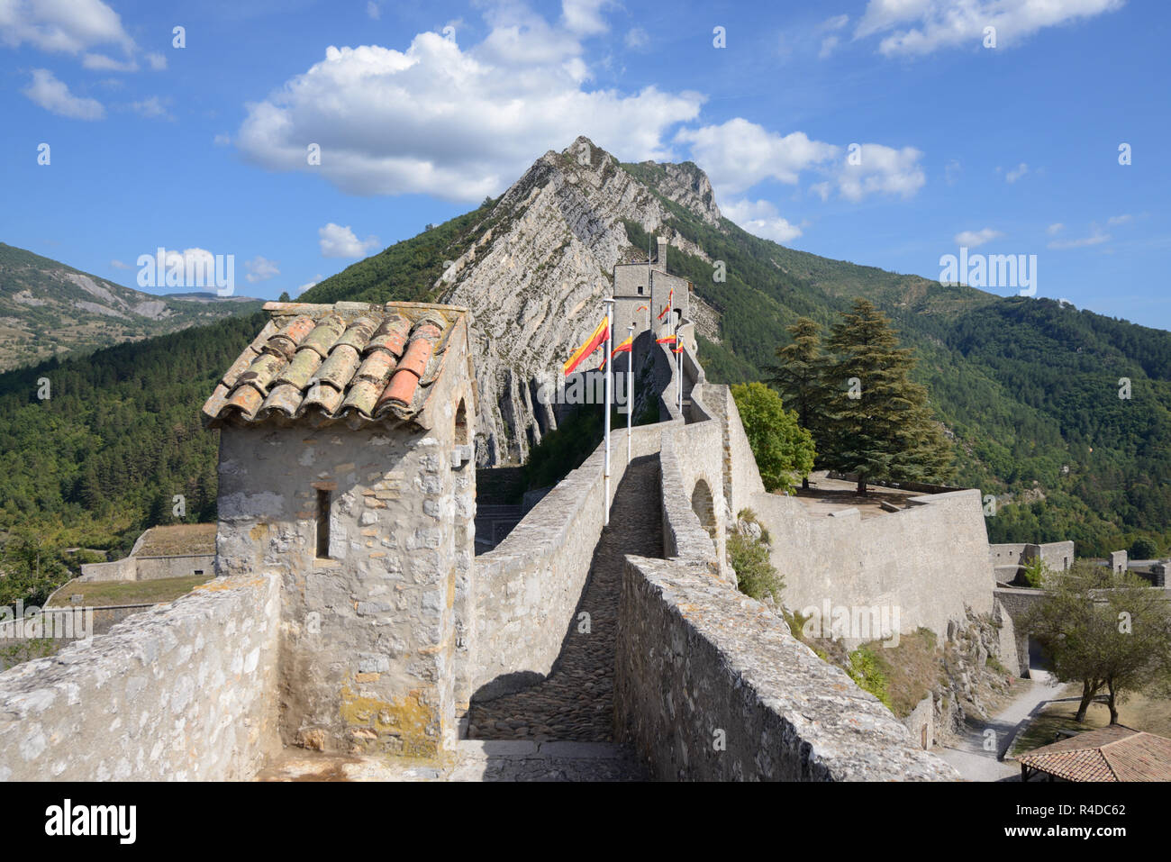 Upper Rampart & Sentry Box of the Medieval Citadel, Fort, Fortress or Castle Sisteron Alpes-de-Haute-Provence Provence France - Stock Image