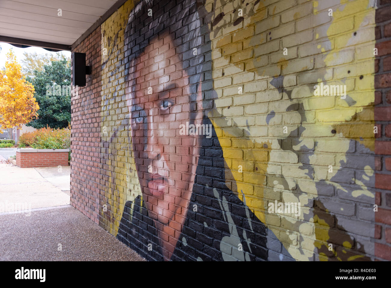 Elvis Presley wall mural on Main Street in downtown Tupelo, Mississippi. Elvis was was born in Tupelo on January 8, 1935. - Stock Image