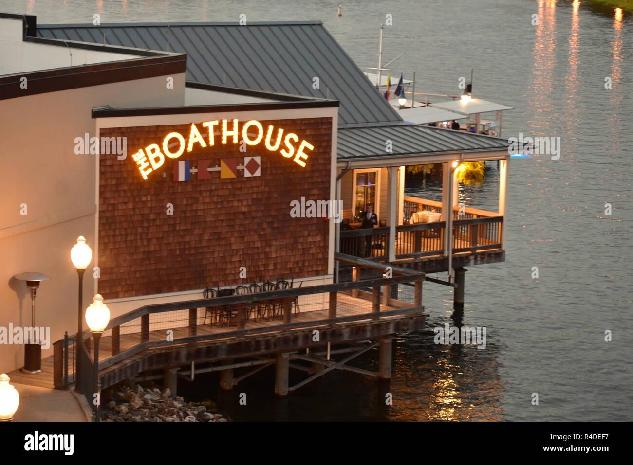 Orlando, Florida. November 16, 2018 Boat House Restaurant over the lake at Lake Buena Vista. - Stock Image