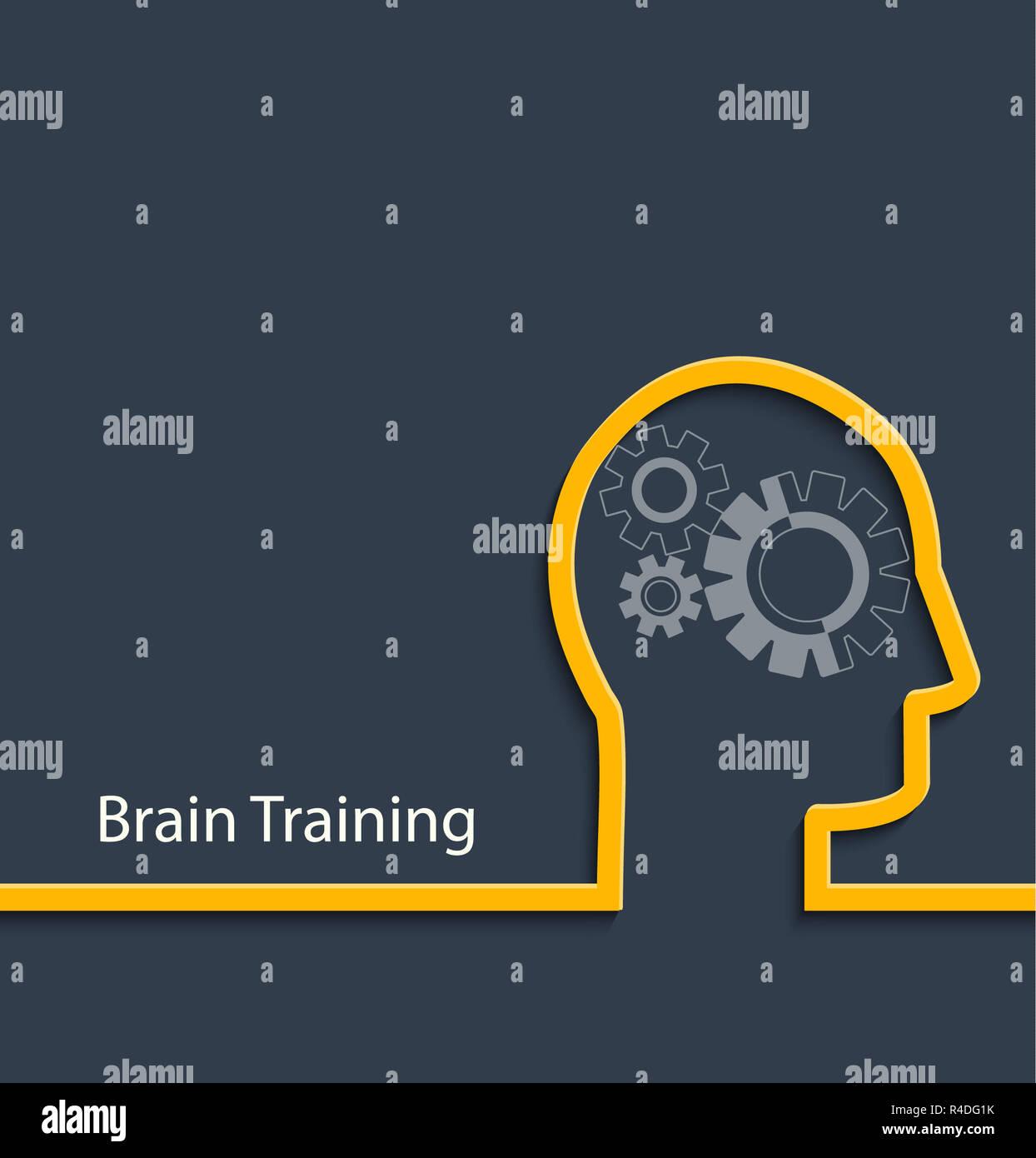 Brain training, vector. - Stock Image