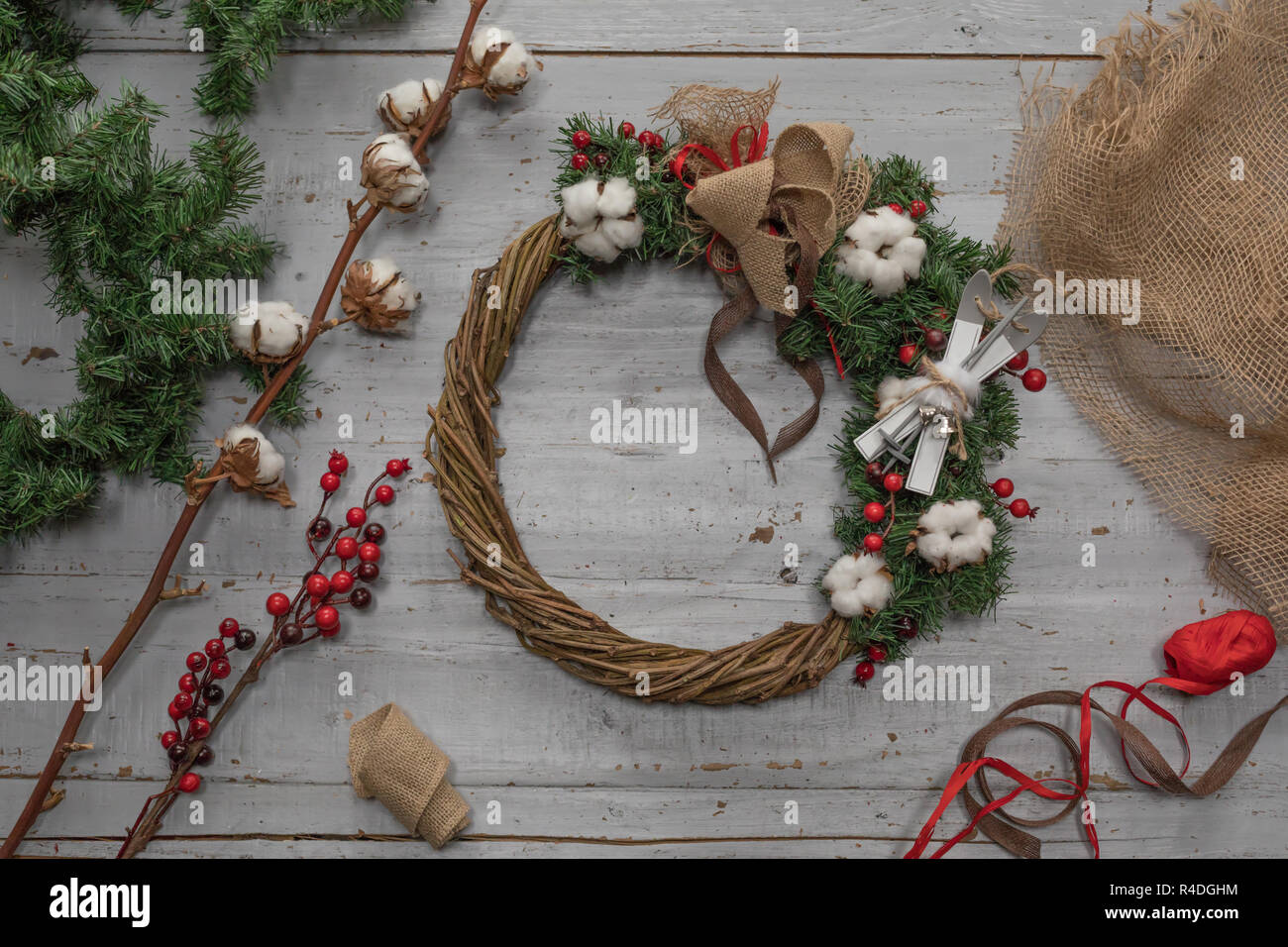 Making Christmas.Top View Of Stages Of Making Christmas Wreath With Fir