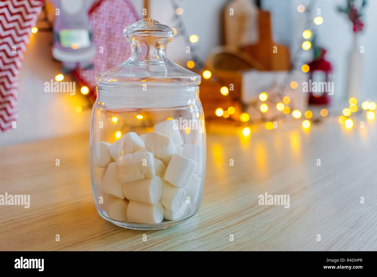 Glass Jar With White Marshmallows Christmas Decor Garland Bokeh