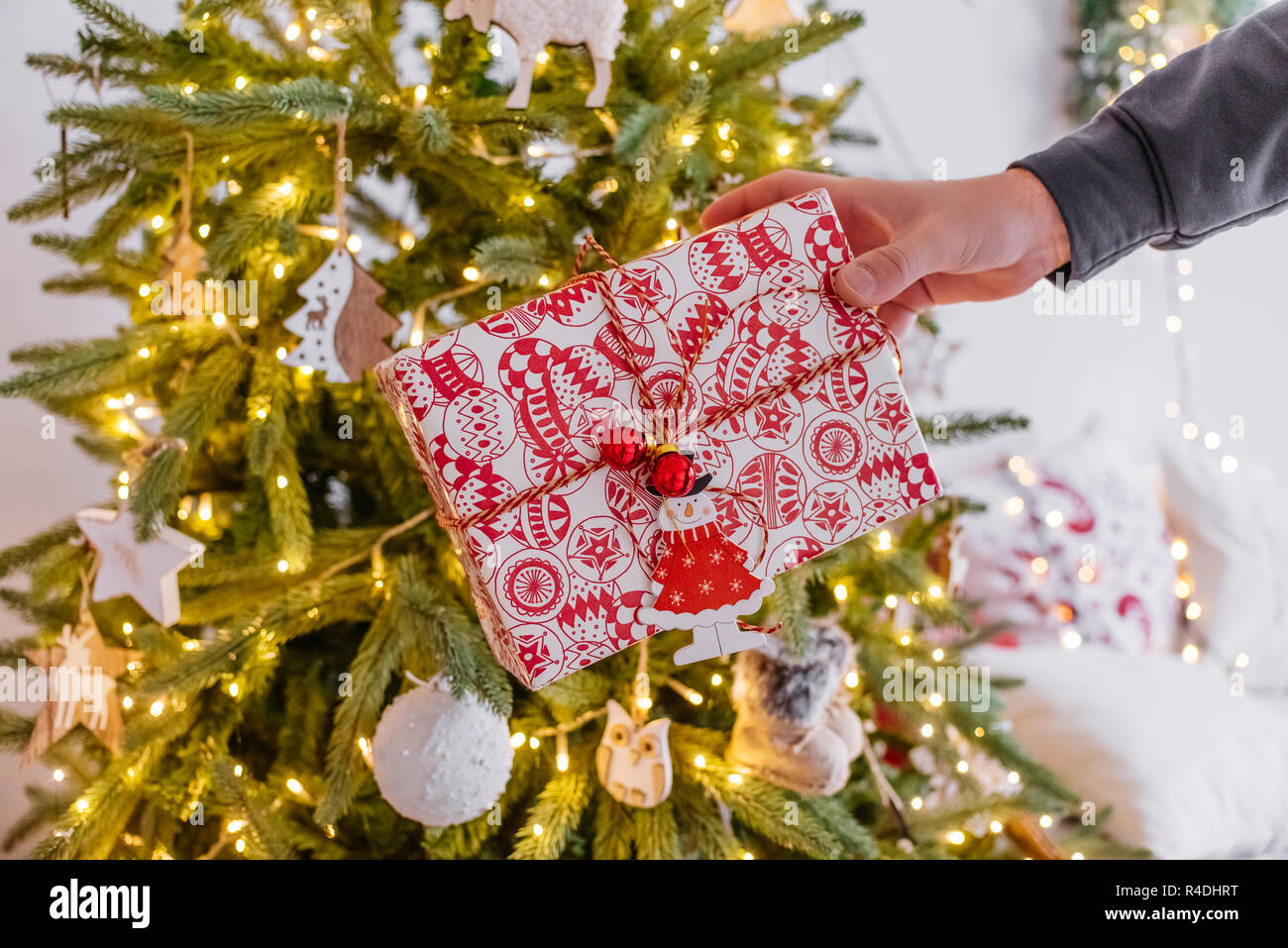a man's hand holds out a gift under the tree . cozy Christmas decor garland bokeh. new year 2019. - Stock Image