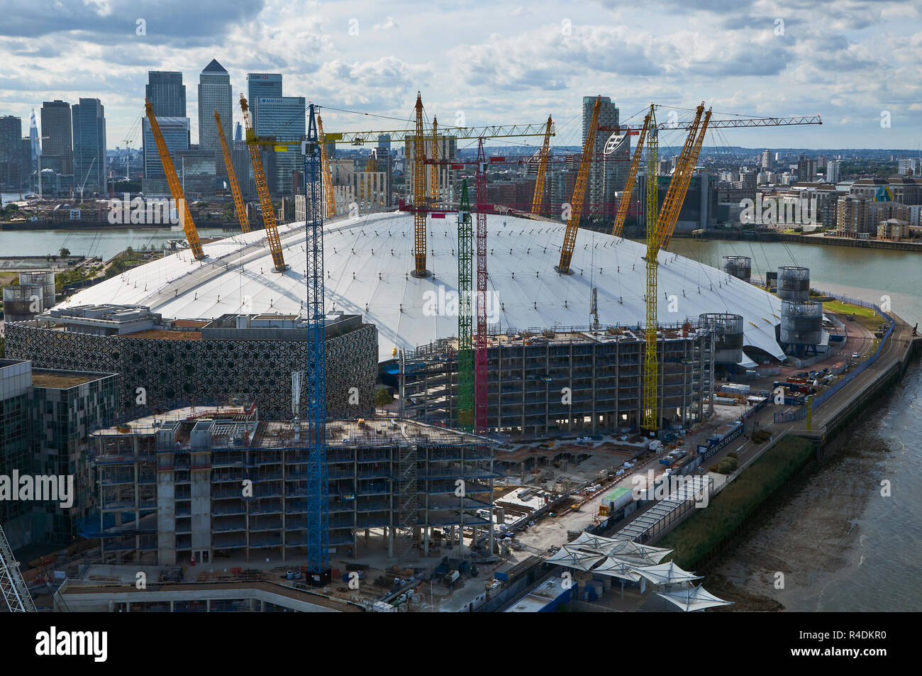 Greenwich Peninsula, South East London UK, from above, with the O2 Arena and new buildings under construction - Stock Image