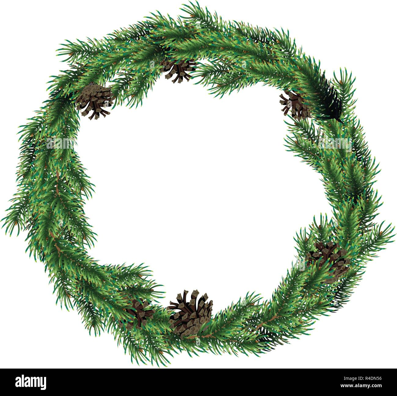 Christmas wreath of fir branches with cones. Green spruce christmas wreath. - Stock Vector