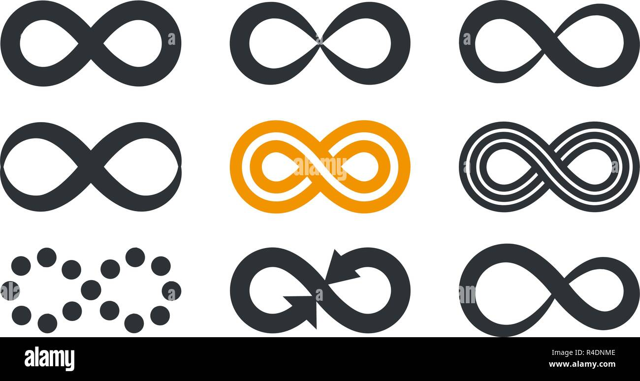 Infinity symbols. Repetition and unlimited cyclicity in different style isolated on white background. - Stock Image