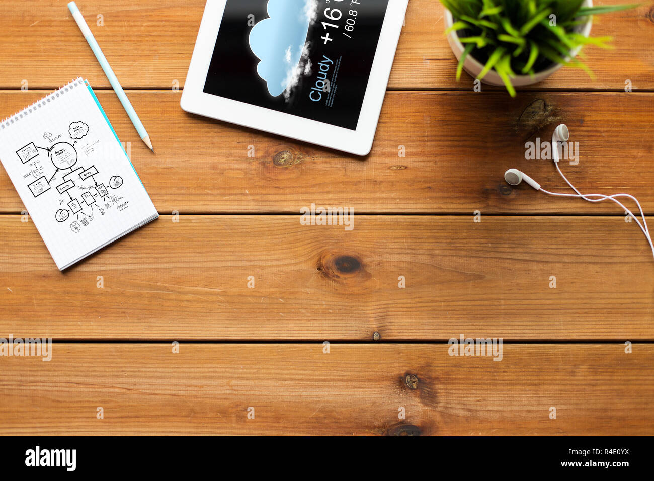 close up of tablet pc with weather forecast Stock Photo