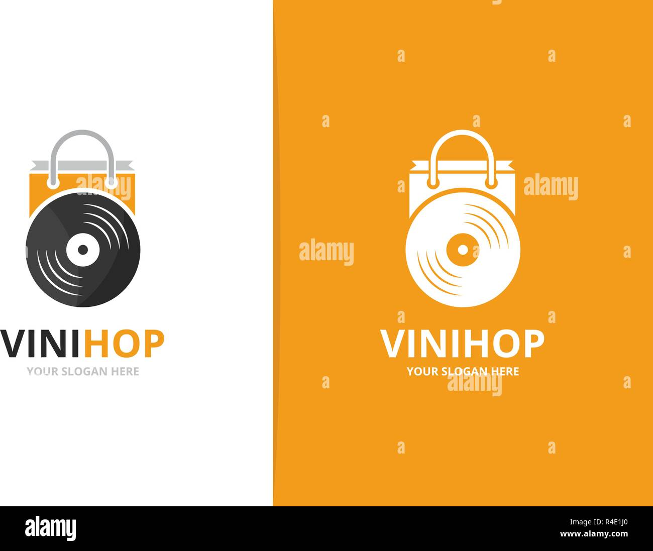 Vector Vinyl And Shop Logo Combination Record And Sale Symbol Or