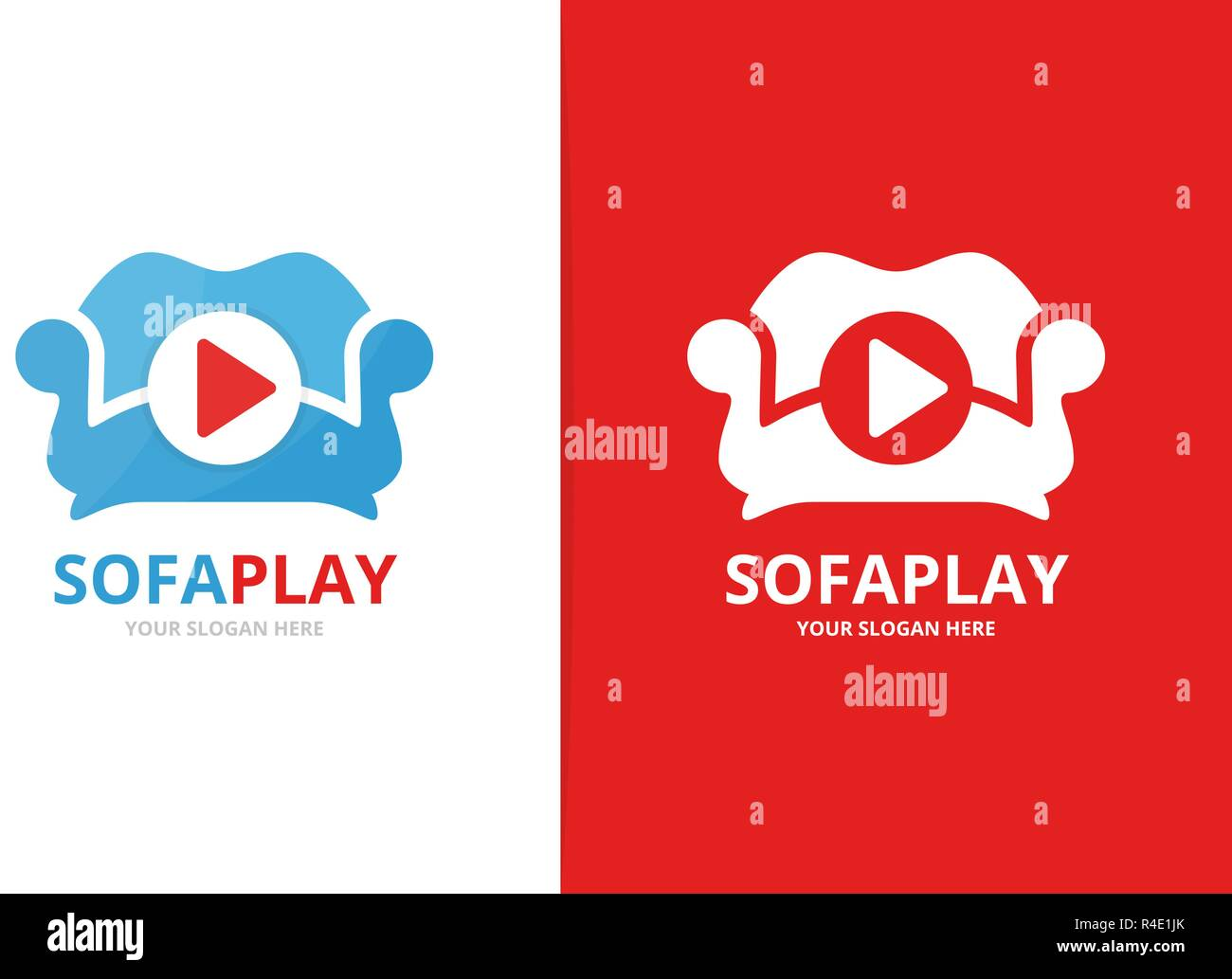 Vector button play and sofa logo combination  Record and