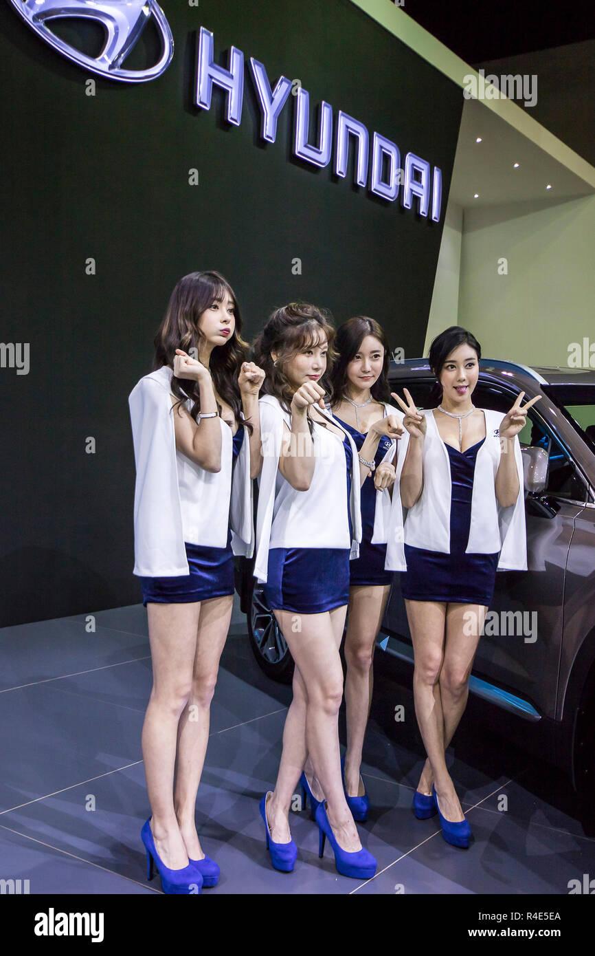 kuala lumpur  malaysia  26th november  2018  korean car show models pose at hyundai booth in