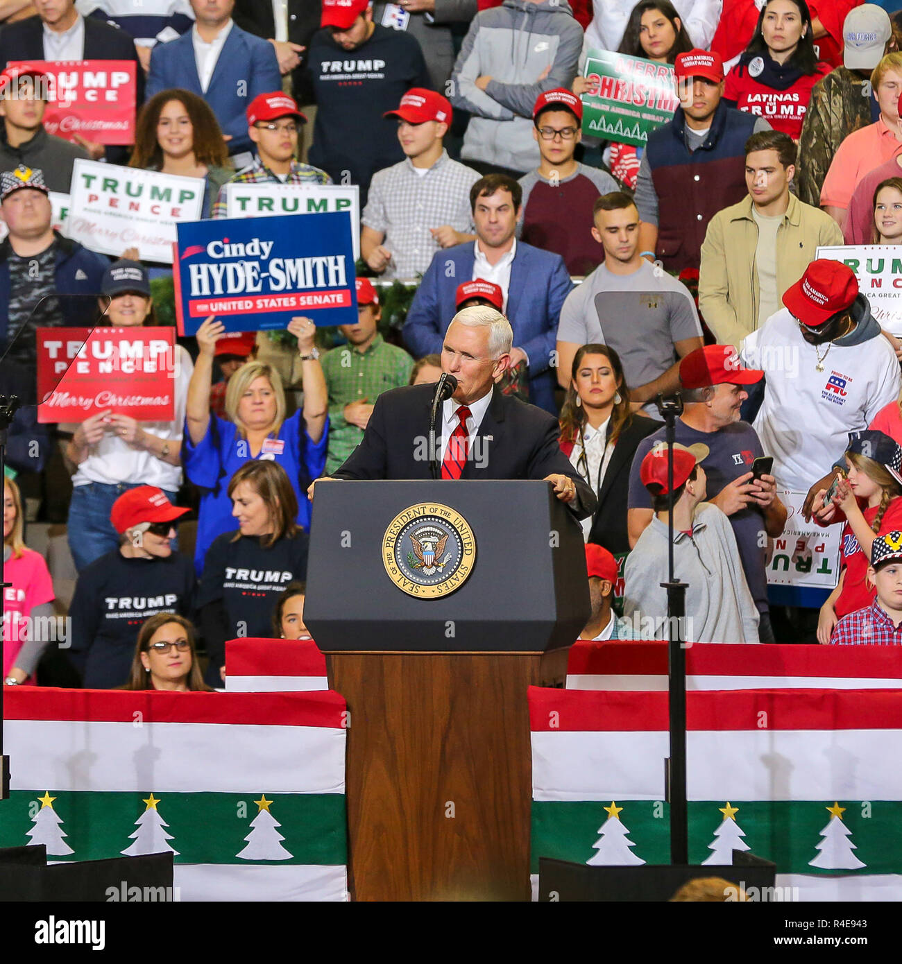Biloxi, Mississippi, USA. 26th Nov 2018. U.S Vice President Mike Pence speaks at a rally Biloxi Mississippi and spoke before introducing U.S. President Donald Trump.  The President and Vice President  both spoke and showing their support for  GOP Sen. Cindy Hyde-Smith who is in a run-off with Democrat Mike Espy. Pence was also to participate in the round table First Step Act which a bipartisan criminal justice legislation. Credit: Tom Pumphret/Alamy Live News - Stock Image