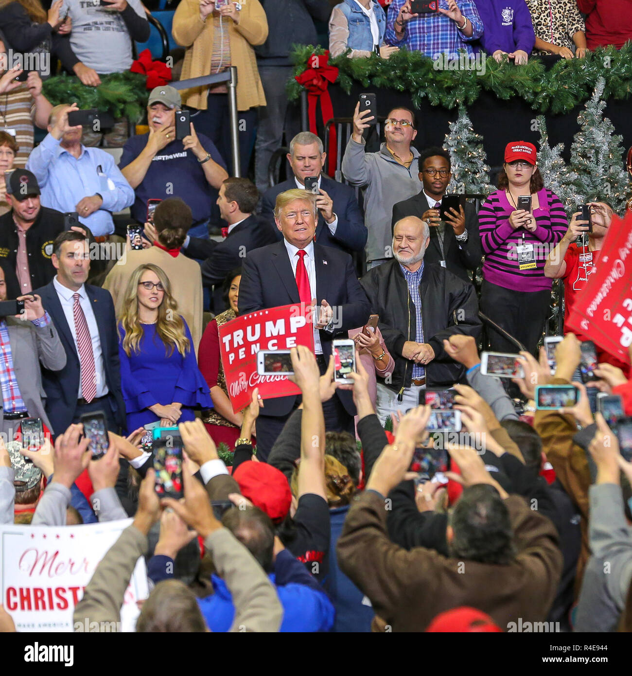 Biloxi, Mississippi, USA. 26th Nov 2018.  President Donald Trump rallying  support for candidate Senator Cindy Hyde-Smith. This was the second of two rallys, first rally earlier in the day was held in Tupelo,. Mississippi. Credit: Tom Pumphret/Alamy Live News - Stock Image
