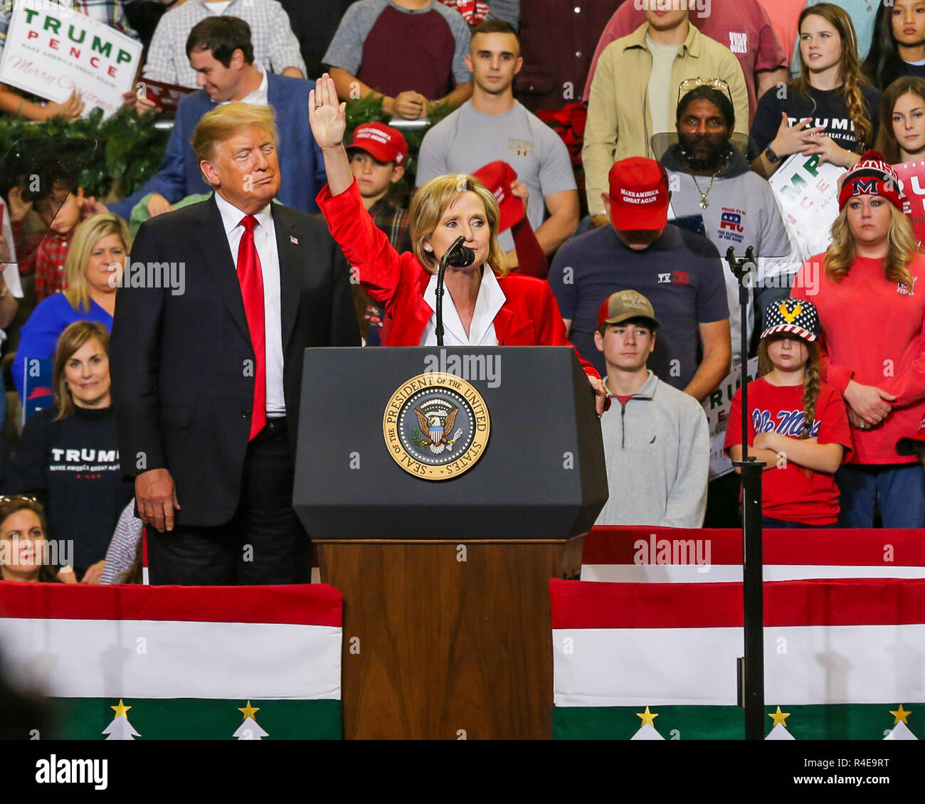 Biloxi, Mississippi, USA. 26th Nov, 2018. President Donald Trump in Biloxi, Mississippi. for rally in support of Sen. Cindy Hyde-Smith. The run-off election against Mike Espy for the U.S. Senate in Mississippi on November 27, 2018. Credit: Tom Pumphret/Alamy Live News - Stock Image
