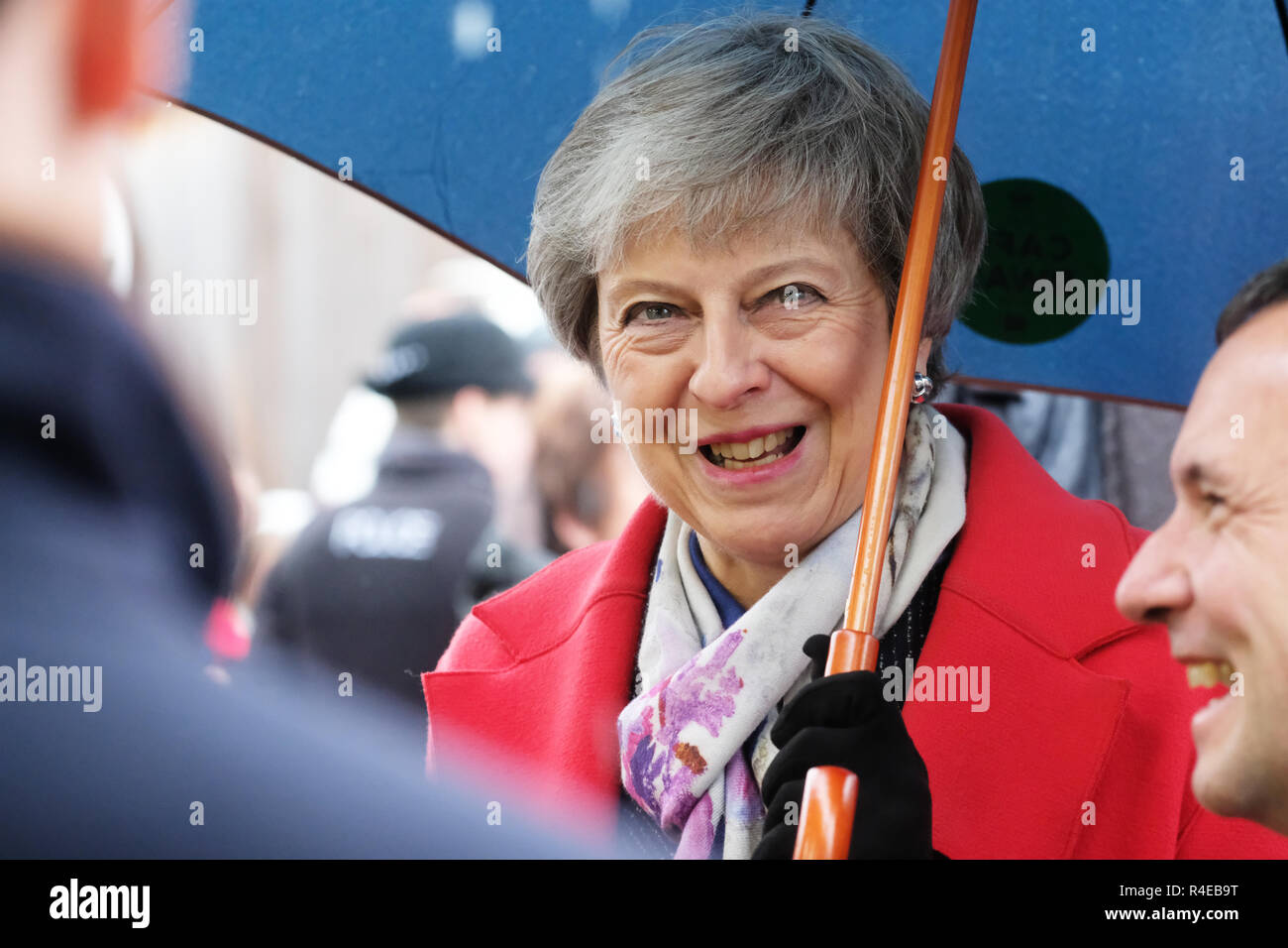 Royal Welsh Showground, Builth Wells, Powys, Wales - Tuesday 27th November 2018 - Prime Minister Theresa May visits the Royal Welsh Winter Fair in the rain as she starts her tour of the UK to sell her Brexit deal to the public across the UK - Credit: Steven May/Alamy Live News - Stock Image