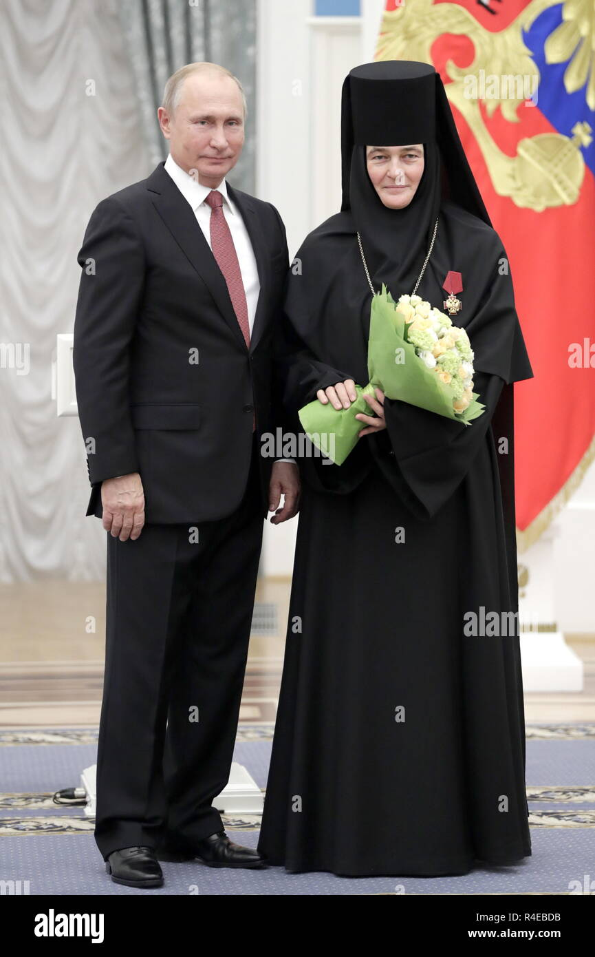 Moscow Russia 27th Nov 2018 Moscow Russia November 27 2018 Russia S President Vladimir Putin L Awards An Order For Merit To The Fatherland Iv Class To Mother Superior Feofaniya Of Moscow S