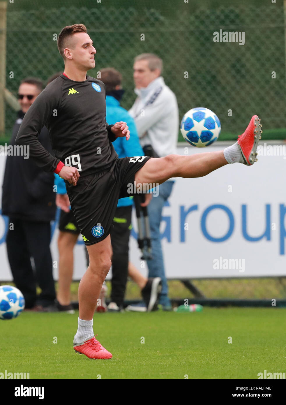 Napoli, Italy. 27th November 2018, Castelvolturno center sporting SSC Napoli,  Italy; session training before the UEFA Champions League game between Napoli  and Red Star Belgrade; Arkadiusz Milik Napoli Credit: Action Plus Sports