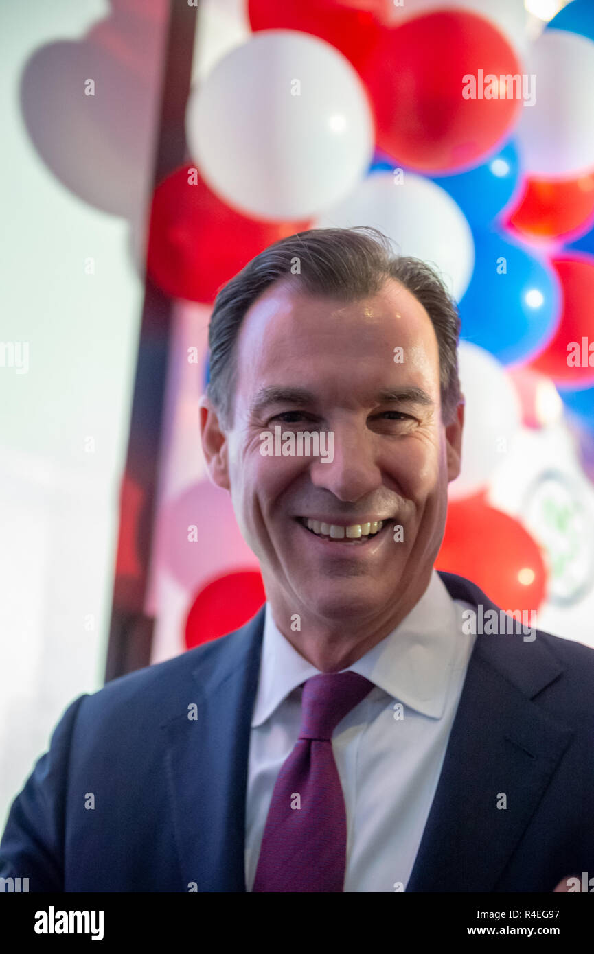 November 6, 2018 - Garden City, New York, United States - Nassau County Democrats watch Election Day results at Garden City Hotel, Long Island.  Congressman TOM SUOZZI spoke with supporters after winning re-election as U.S. Representative for New York's 3rd district (Credit Image: © Ann Parry/ZUMA Wire) Stock Photo