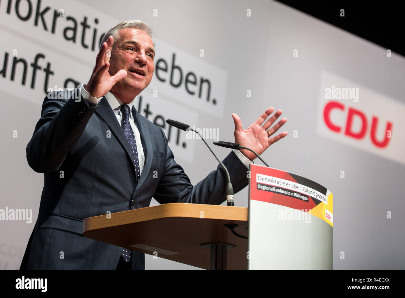27 November 2018, Baden-Wuerttemberg, Böblingen: Thomas Strobl (CDU), Baden-Württemberg's Interior Minister, speaks to party members at the CDU regional conference. Photo: Christoph Schmidt/dpa - Stock Image