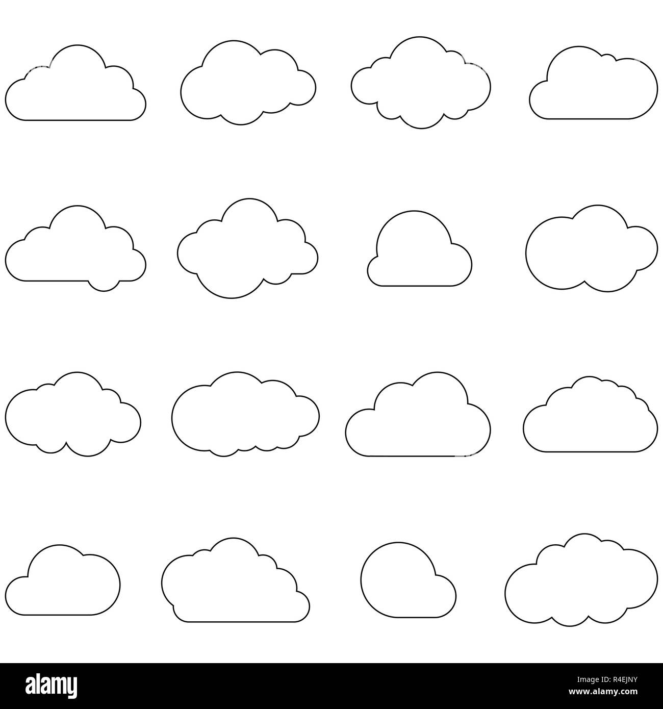 Clouds line art icon. Storage solution element, databases, networking, software image. Cloud or meteorology concept. Vector icons set. - Stock Image