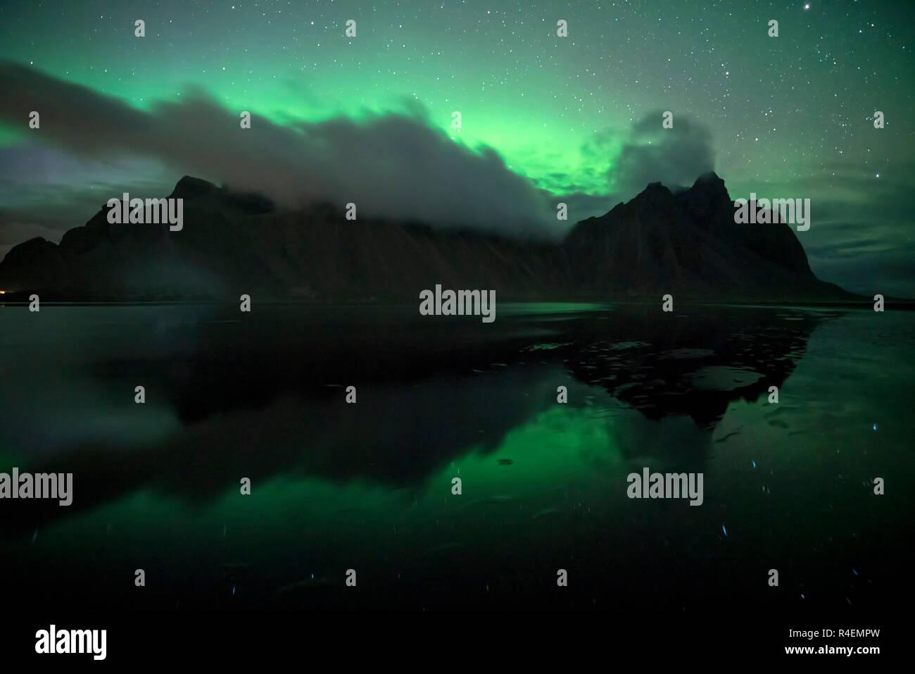 Aurora Borealis over Vestrahorn, Stokksnes, Southeastern Iceland Stock Photo