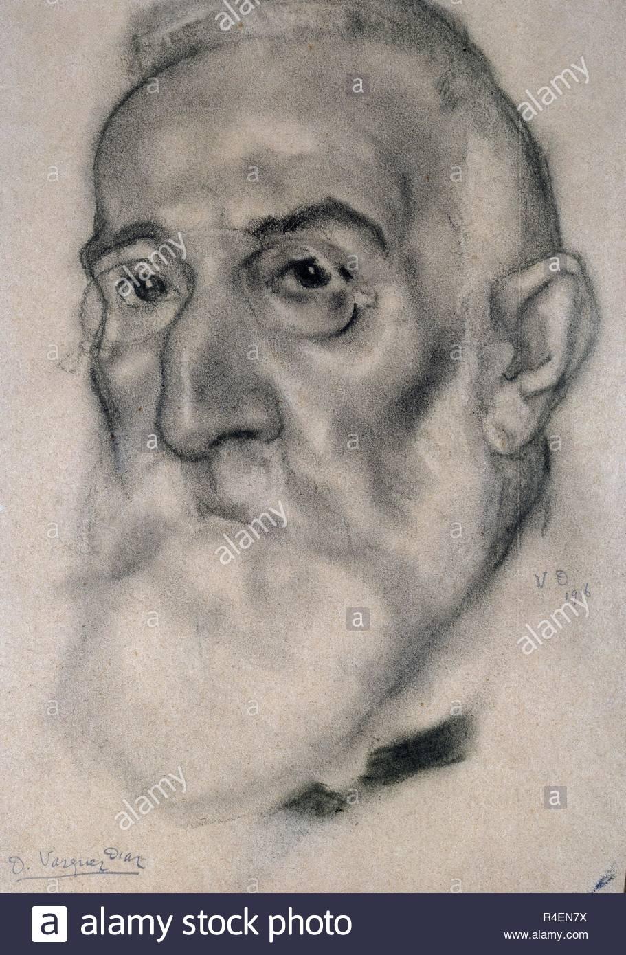 CABEZA - RETRATO MASCULINO - SIGLO XX - DIBUJO. Author: VAZQUEZ DIAZ, DANIEL. Location: PRIVATE COLLECTION. MADRID. SPAIN. - Stock Image