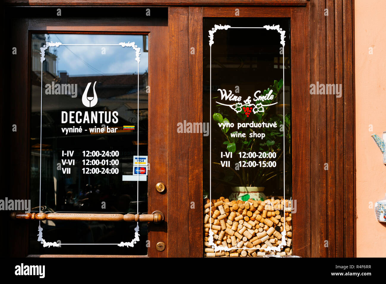 Decantus, Wine Shop. Vilnius, Vilnius County, Lithuania, Baltic states, Europe. Stock Photo