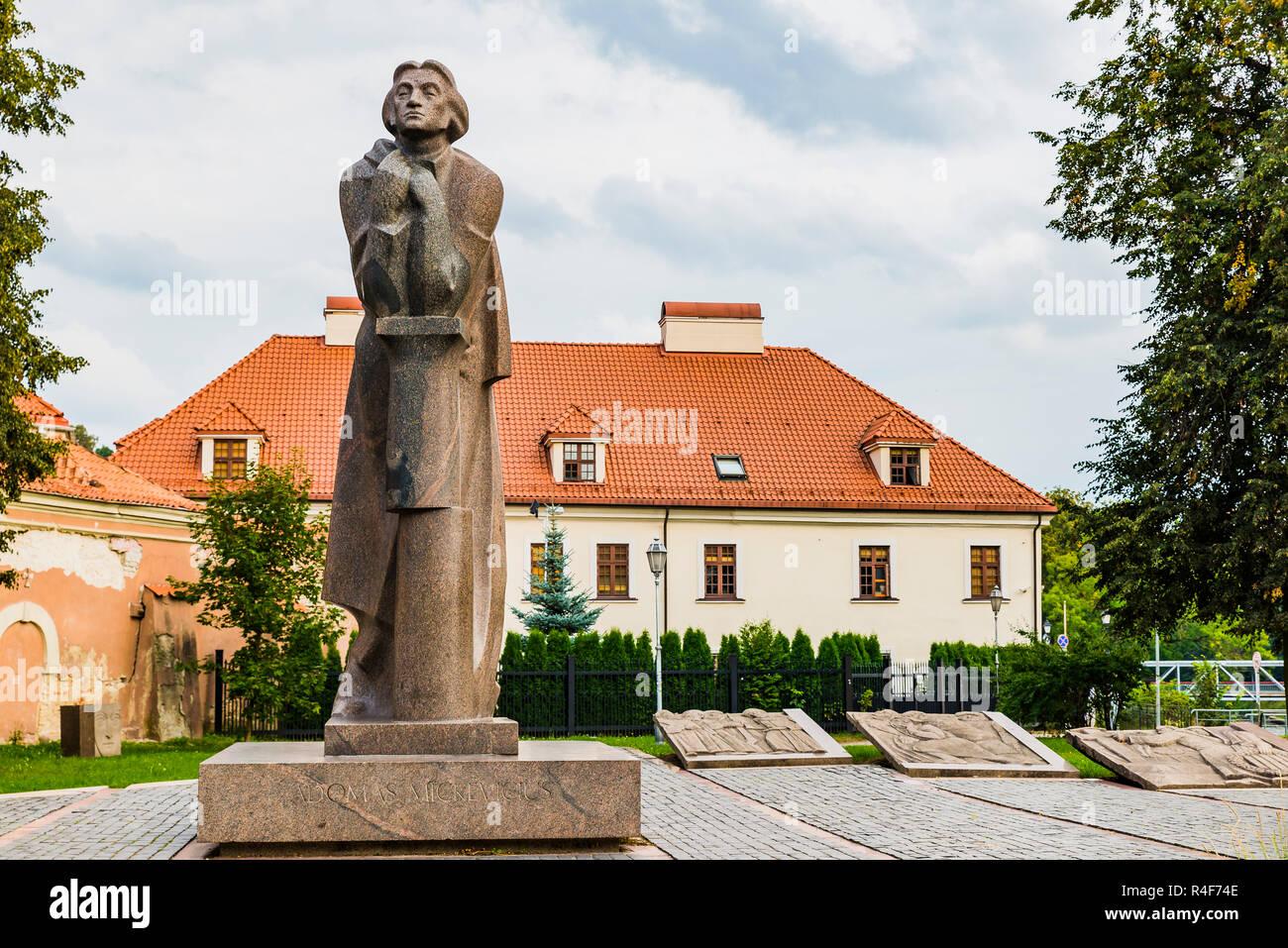 Adam Mickiewicz monument in Vilnius. Adam Bernard Mickiewicz was a Polish poet, dramatist, essayist, publicist, translator, professor of Slavic litera - Stock Image