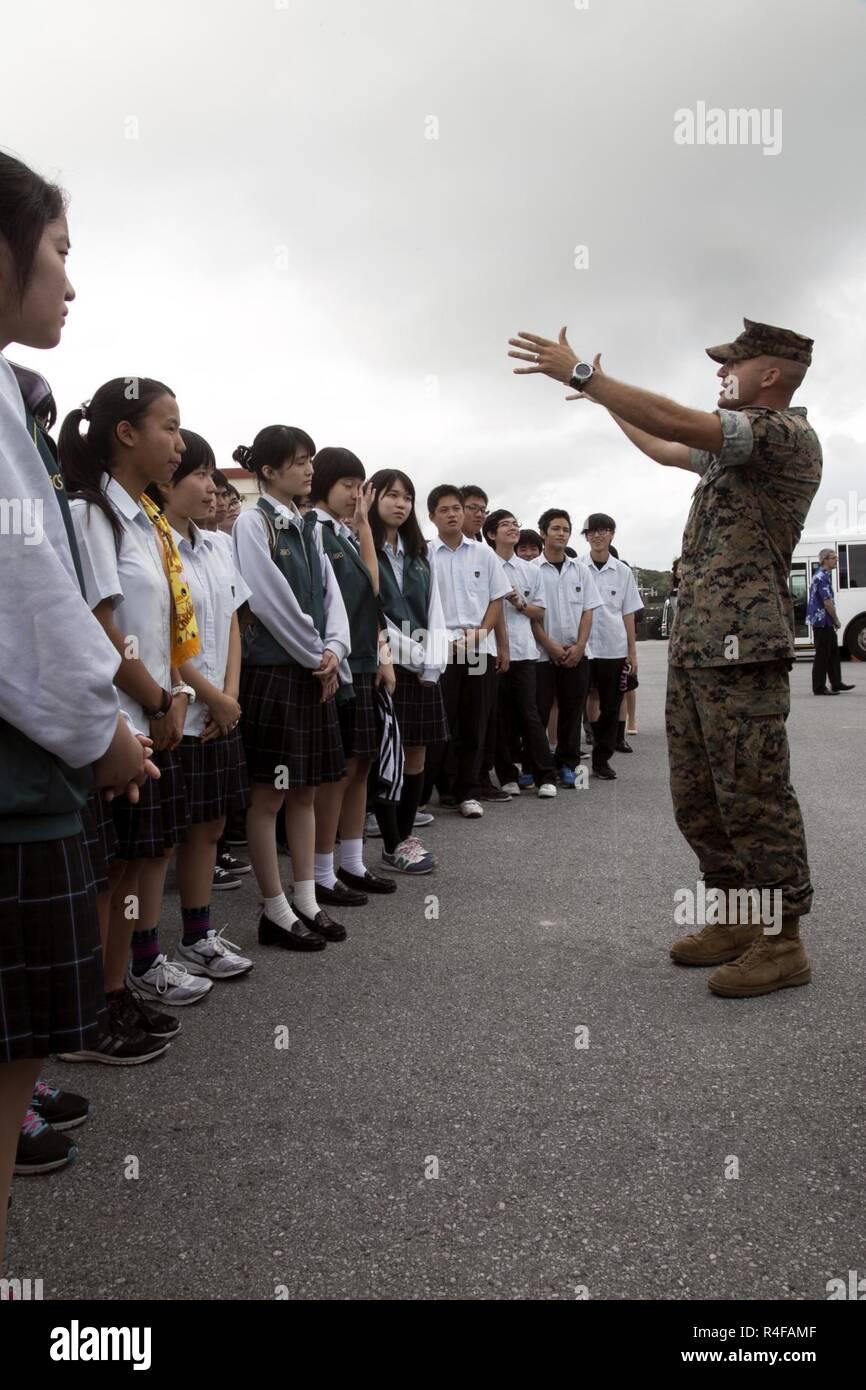 Capt Matthew Schultz Right Talks With Showa Yakka High School